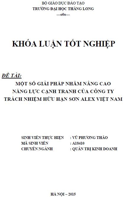 Một số biện pháp nâng năng lực cạnh tranh của Công ty TNHH Sơn ALex Việt Nam