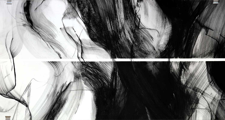 Annik Reymond - fusain 40 cm x 17 mètres, détail 1