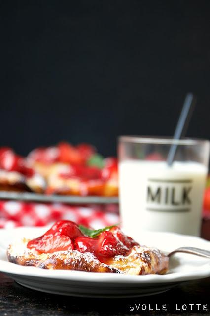 backen, erdbeeren, quark, einfach, lecker, blätterteig