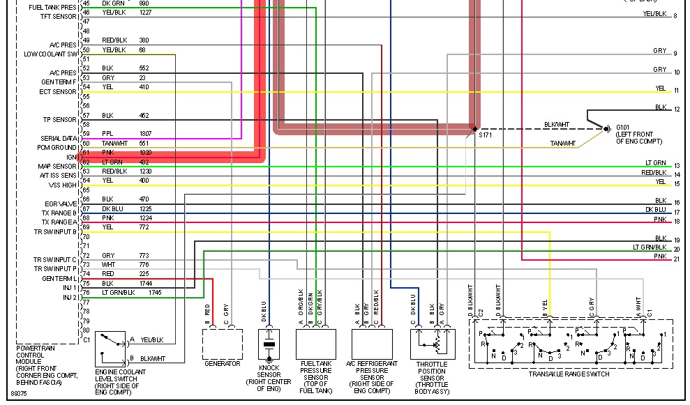 1998 Chevy Cavalier Z24 24L LD9 PCM Fuel Pump Relay