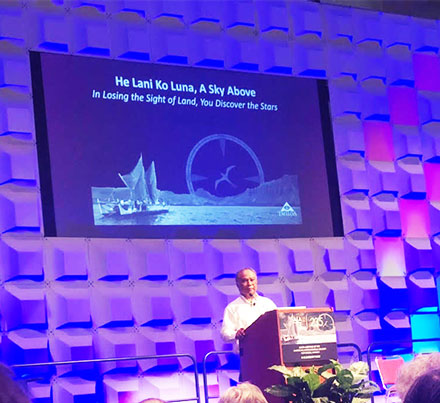 Chad Baybayan, U. of Hawaii, and daughter, Kala, at AAS 235 speak on sailing adventure (Source: Palmia Observatory)