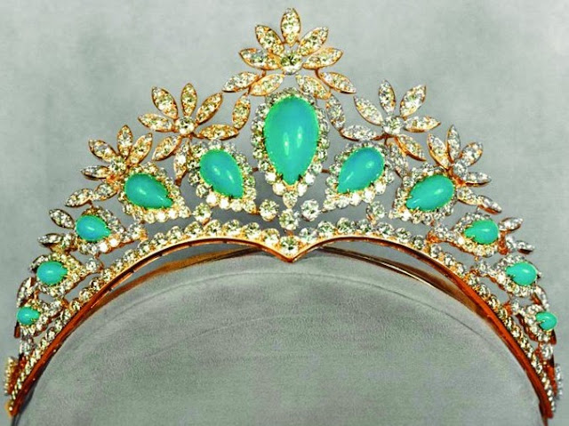 turquoise diamond tiara iran empress farah diba pahlavi van cleef and arpels