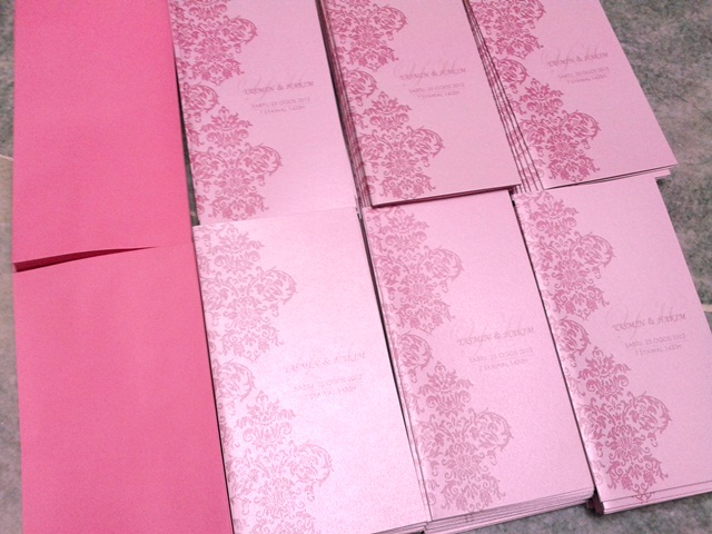 Pink Damask Wedding Invitation Card, Yasmin & Hakim, yasmin, hakim, wedding invitation cards, malay wedding cards, pink damask card, pink card, invitation card, wedding