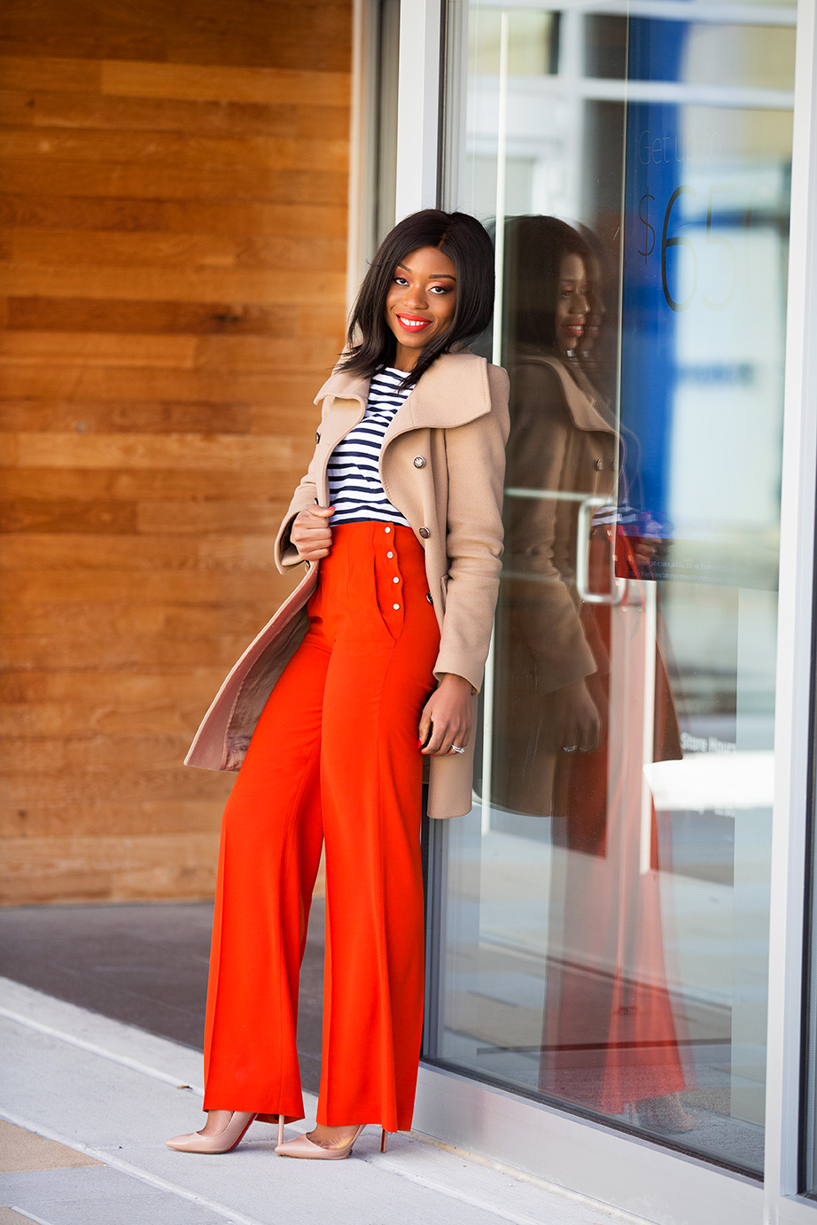 High-waisted and wide leg pants, stripe top, www.jadore-fashion.com