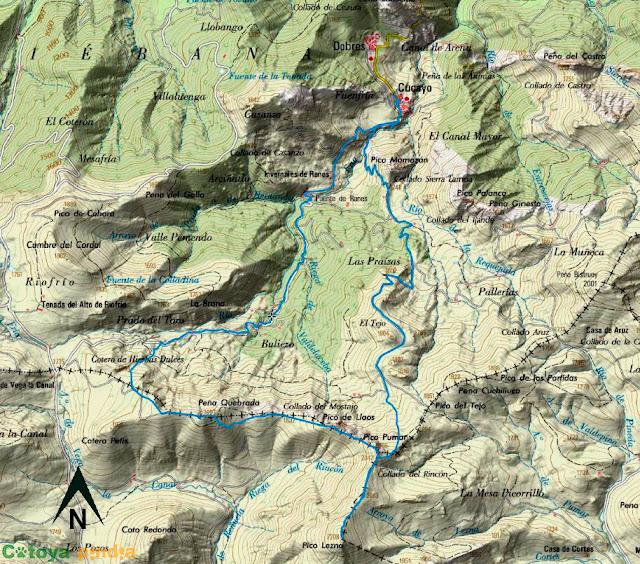 Mapa IGN de la ruta señalizada al Pico Lezna desde Cucayo