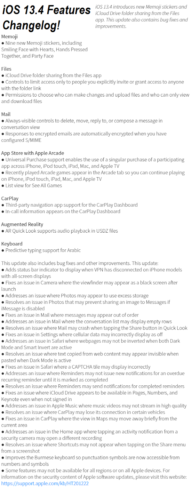 iOS 13.4 Features Changelog