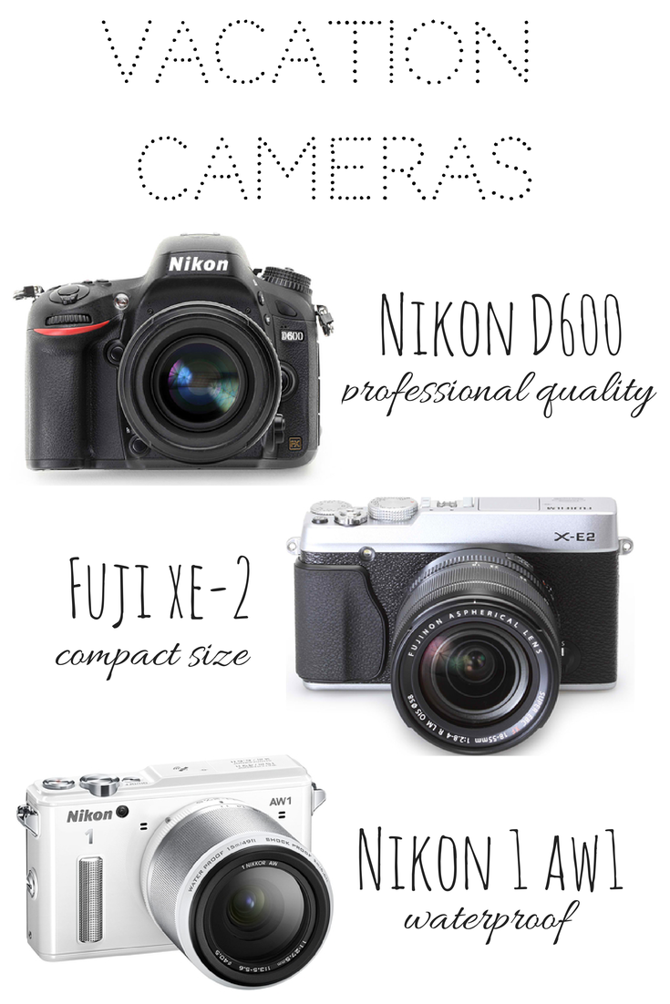 A comparison of different cameras and their uses including the Nikon D600, Fuji XE-2, and Nikon 1 AW1