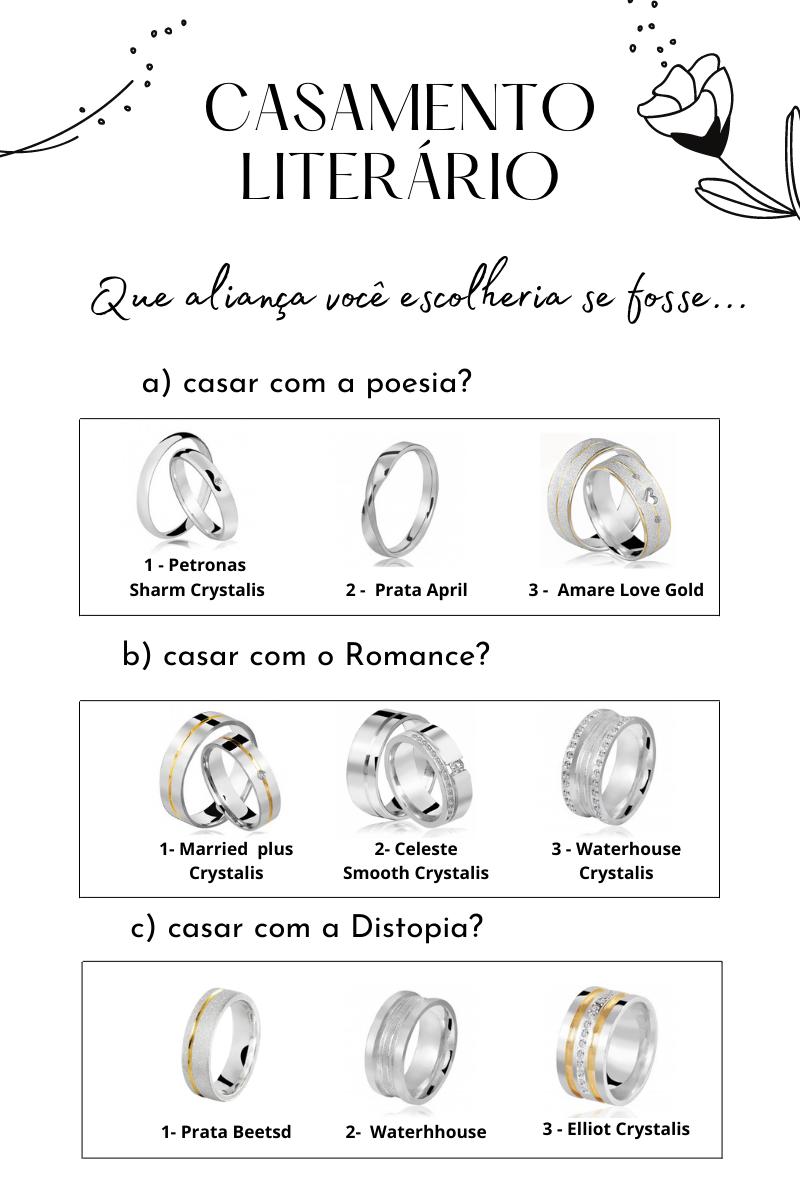 Casamento Literário, Alianças de prata, Lojas Rubi,
