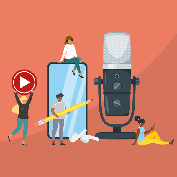 illustration of people using podcast website examples to create an online home for their show