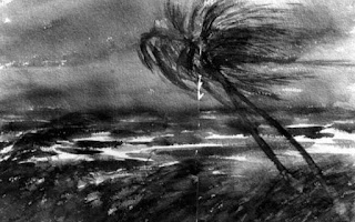 Painting of a palm tree blowing in a hurricane
