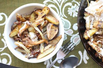 pommes de terre et champignons creme