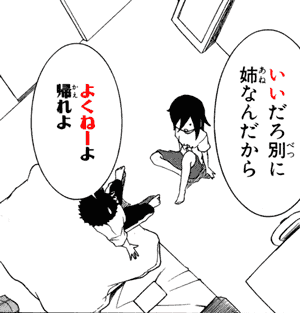 いいだろ別に 姉なんだから よくねーよ 帰れよ quote from manga Watashi ga Motenai no wa Dou Kangaetemo Omaera ga Warui! 私がモテないのはどう考えてもお前らが悪い! (chapter 2)