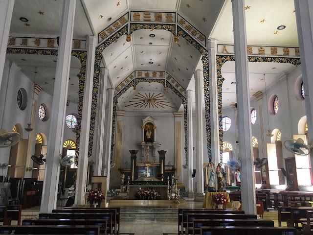 sanctuary interior at St. Francis Xavier Church, Bangkok, Thailand