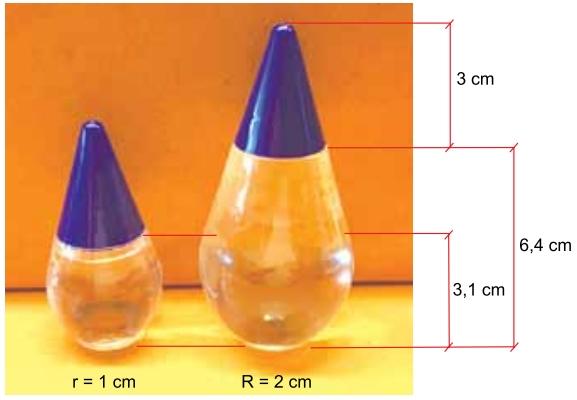 Sabe-se que a altura de cada tampa é 3 cm e que os raios das bases das duas embalagens medem 1 e 2 centímetros, como mostra a figura