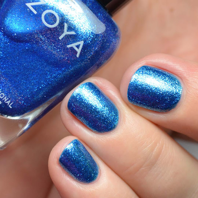 bright blue foil nail polish