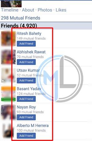 Mutual Friends List