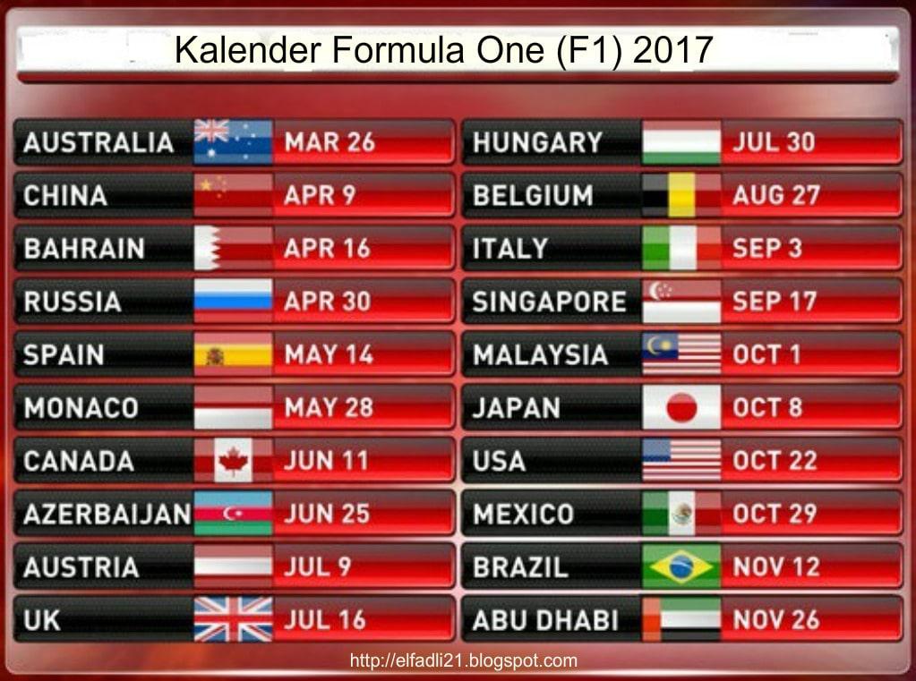 Jadwal Lengkap Formula 1 F1 2017  elfadli