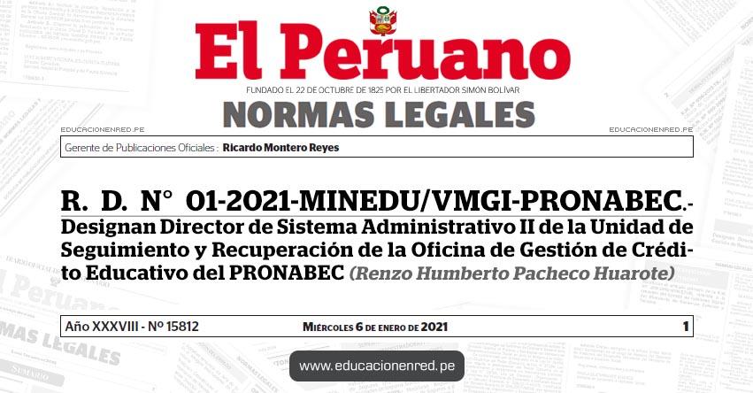 R. D. N° 01-2021-MINEDU/VMGI-PRONABEC.- Designan Director de Sistema Administrativo II de la Unidad de Seguimiento y Recuperación de la Oficina de Gestión de Crédito Educativo del PRONABEC (Renzo Humberto Pacheco Huarote)