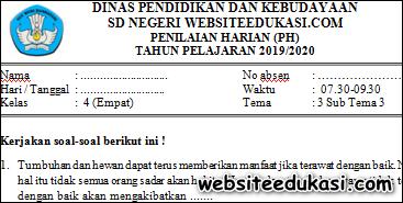 Soal PH / UH Kelas 4 Tema 3 Subtema 3 K13