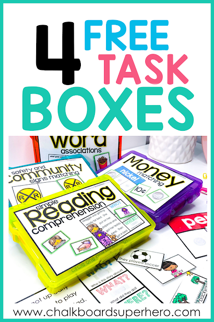 4 free task boxes for special needs students