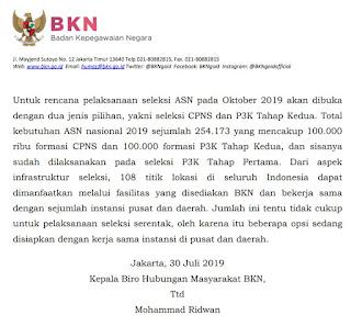 Pendaftaran CPNS 2019 Akan Dibuka Bulan Oktober Mendatang