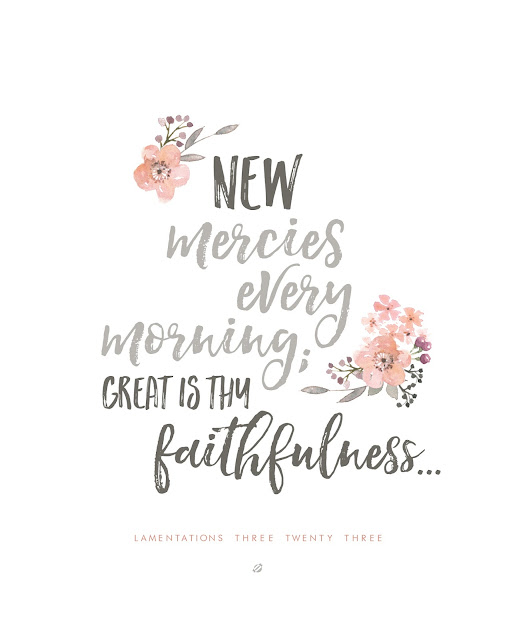 LostBumblebee ©2016 MDBN Bible Verse Printable, Lamentations 3:23 : New Mercies : Great is they Faithfulness : PERSONAL USE ONLY | www.lostbumblebee.net