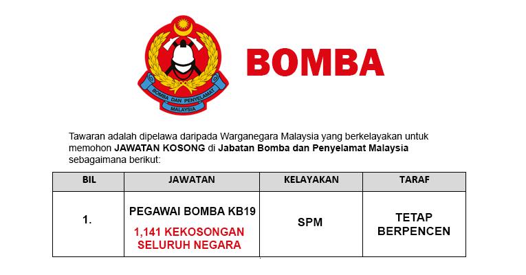 Jawatan Kosong di Jabatan Bomba dan Penyelamat Malaysia - 1,141 Kekosongan / Lelaki & Wanita