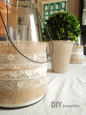 burlap wrapped glass candle holders jars
