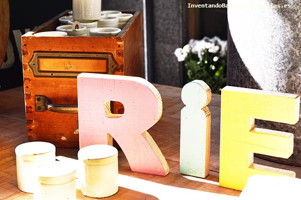 Letras decoradas con pintura