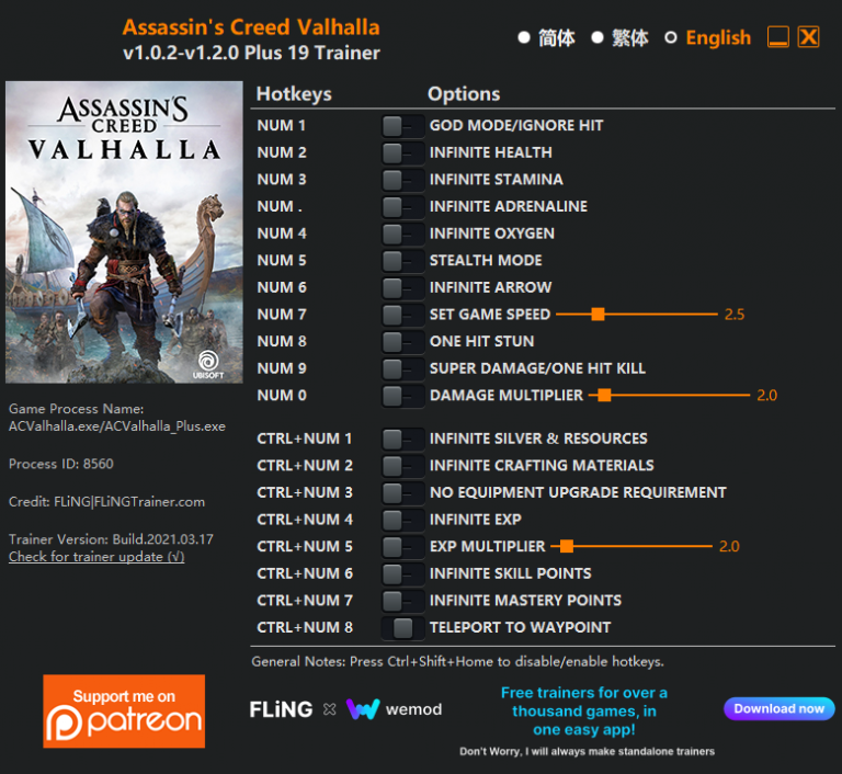 Assassin's Creed Valhalla: Trainer (+19) [1.0.2 - 1.2.0]