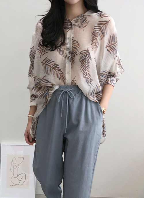 Leaf Print Loose Fit Button-Down Blouse