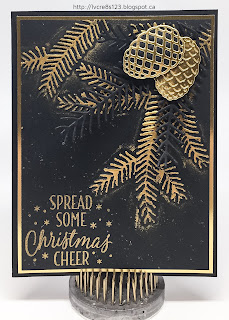 Linda Vich Creates: Pretty Pine Bough. Black and gold unite in this festive holiday card filled with stamped, embossed and die cut pine boughs.