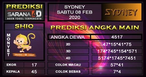 Prediksi Sarana4D Sidney Sabtu 08 Februari 2020