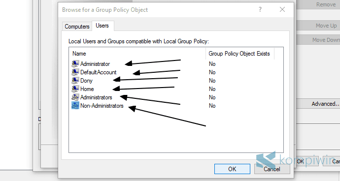 menerapkan ke semua user yang bukan admin