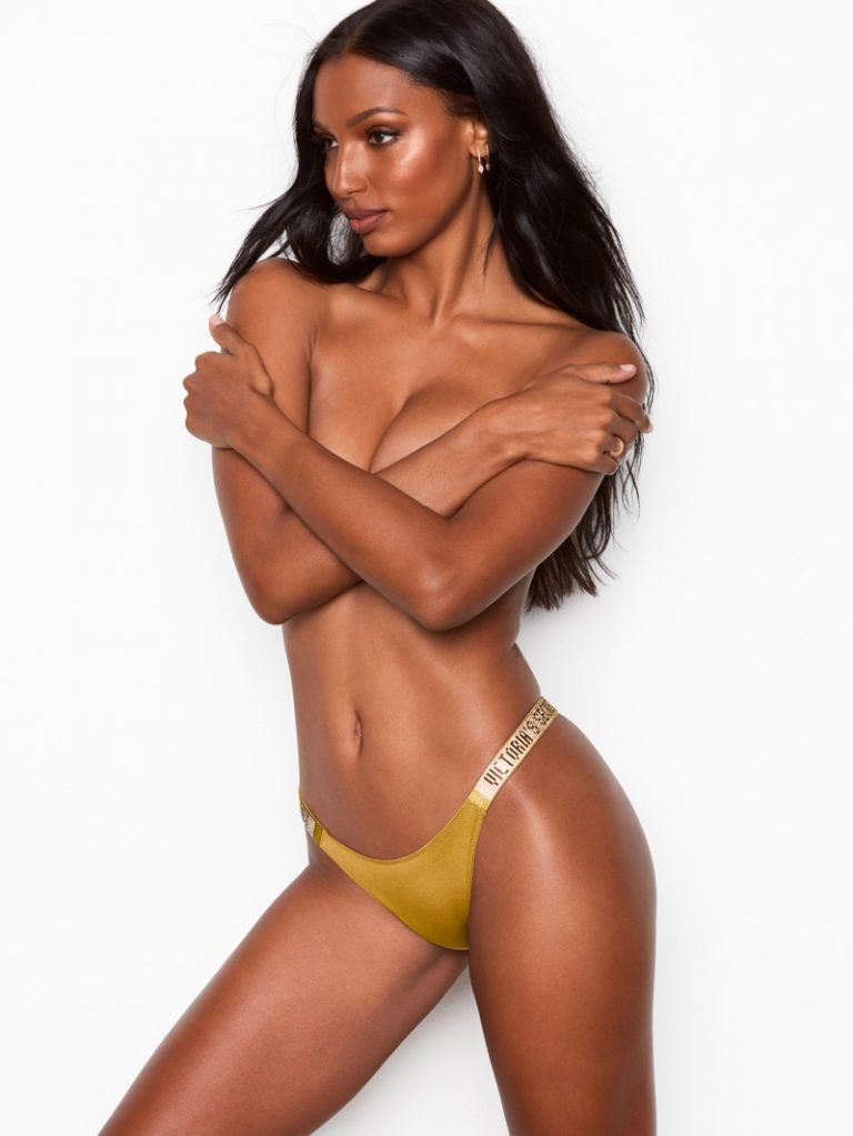 Jasmine Tookes models Victoria's Secret Shine Strap Brazilian Panty
