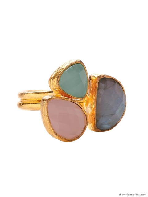 rose quartz, aqua chalcedony and labradorite ring set in gold by Ottoman Hands