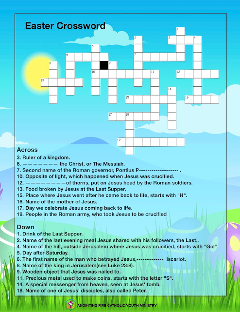 crossword puzzle with clues relating to Jesus passion, death and resurrection