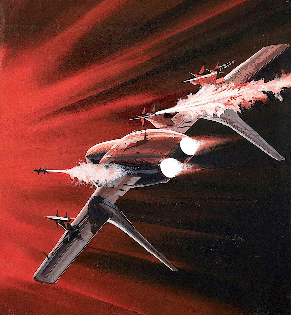 a Jo Kotula illustration, a fighter jet in red shooting
