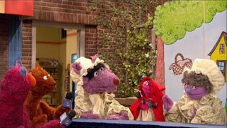 Telly, baby bear, The Big Bad Wolf. Little Red Riding Hood tries to find which woman is her real grandmother. Sesame Street Episode 4320 Fairy Tale Science Fair season 43