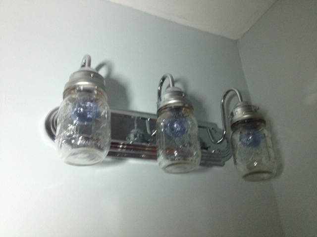 Two it yourself diy mason jar light fixture on the cheap - Mason jar bathroom light fixture ...