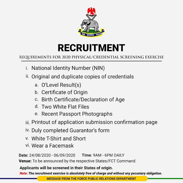 NPF Recruitment Physical & Credential Screening Dates 2020/2021