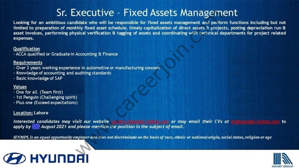 Hyundai Pakistan Jobs Senior Executive