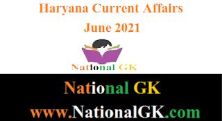 Haryana Current Affairs: June 2021 pdf in hindi