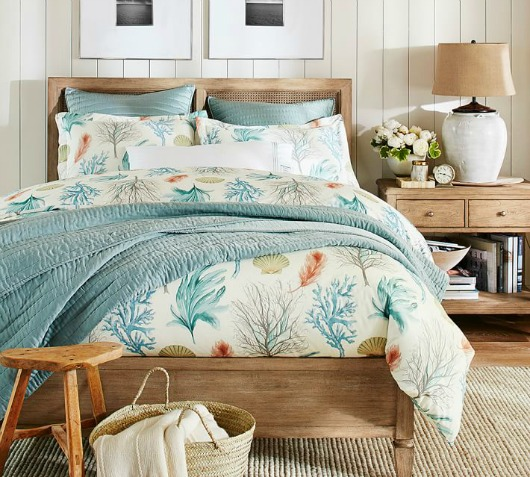 Pottery Barn Earthy Beach Blue Bedroom