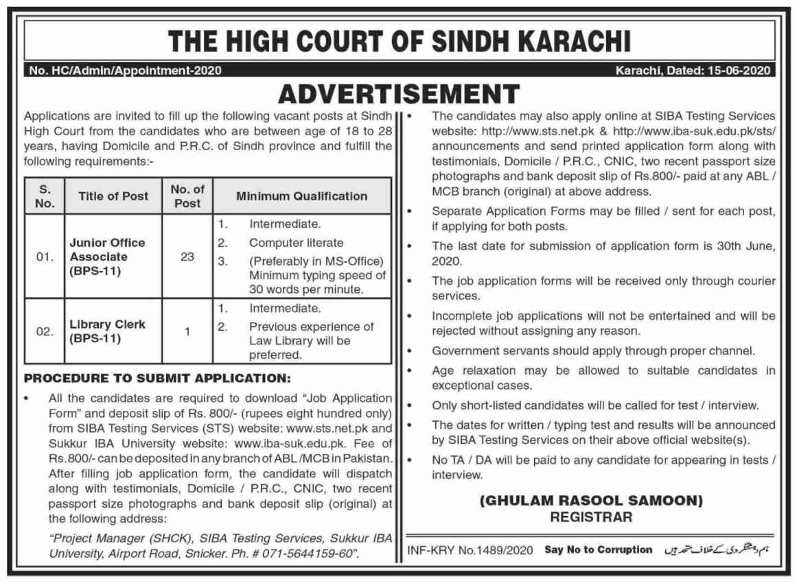 Latest Junior Clerk Jobs in High Court Of Sindh Jobs Karachi 2020