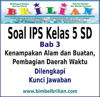 Soal IPS Kelas 5 SD Bab 3 Kenampakan Alam dan Buatan Serta Pembagian Daerah Waktu Dan Kunci Jawaban