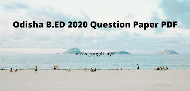 Odisha B.ED 2014 - 2020 Question Paper PDF