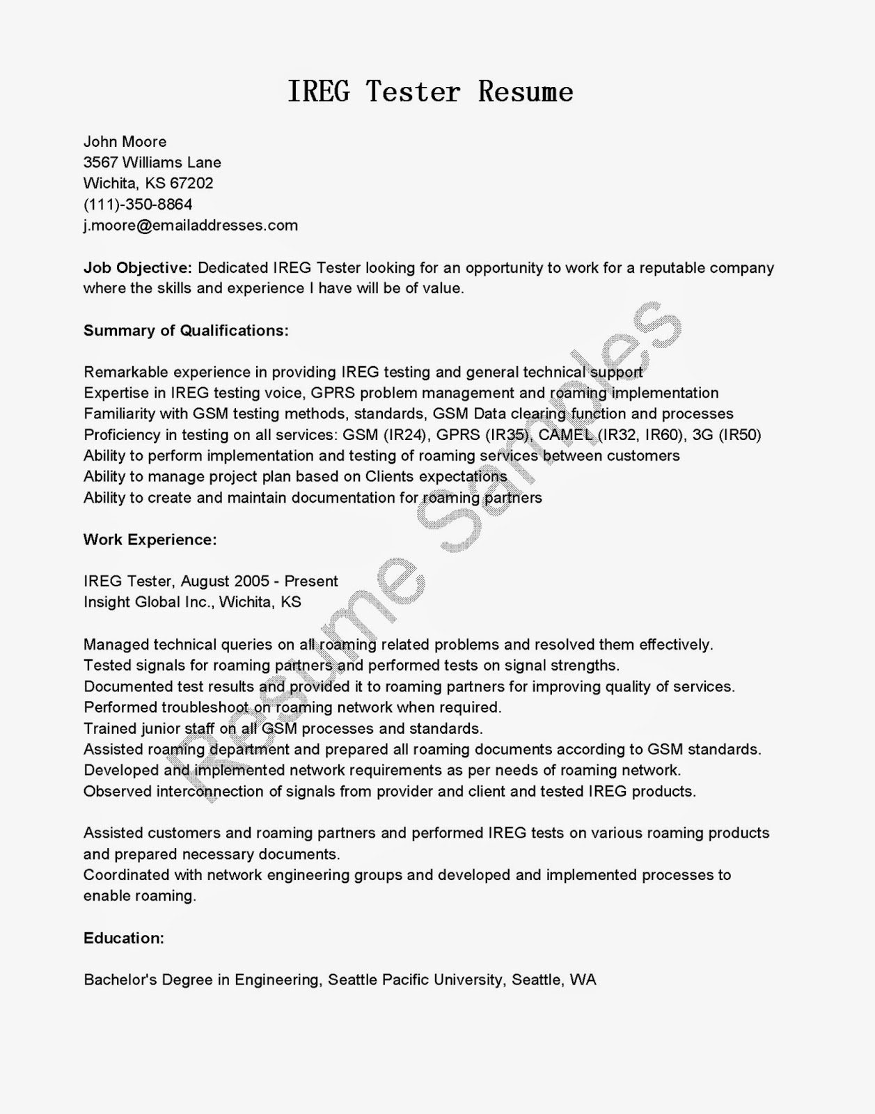 resume samples  ireg tester resume sample
