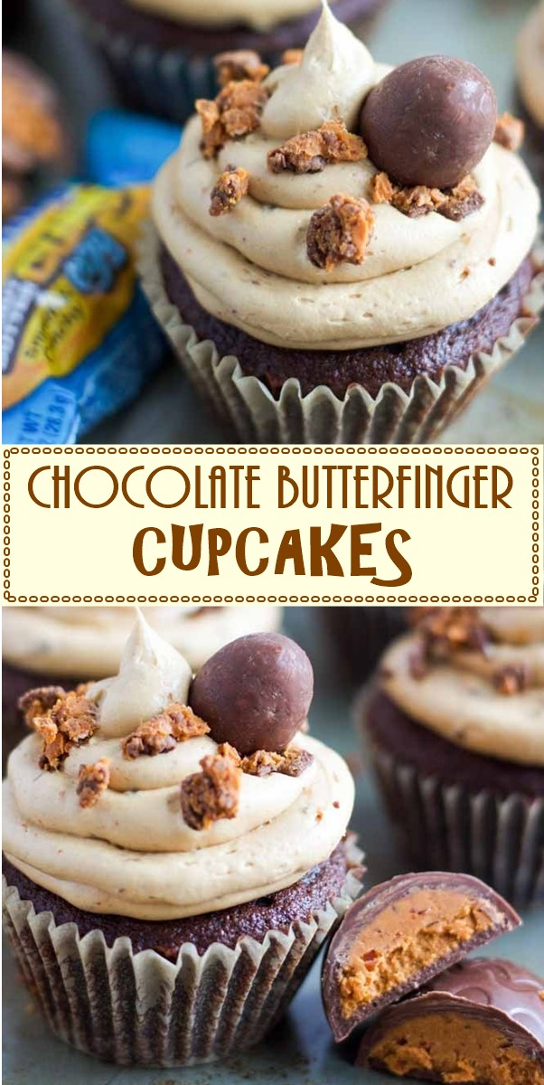 CHOCOLATE BUTTERFINGER CUPCAKES #cupcakerecipes