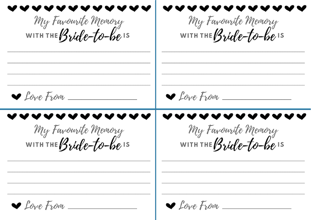 Free printable hen party memory card - in Black